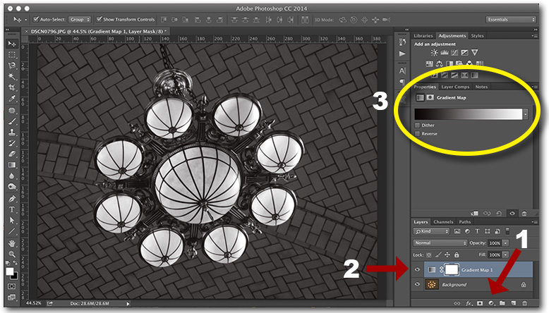 "Figure 13. Gradient Map Adjustment Layer. (1) Click the ""Create New Fill or Adjustment Layer"" icon. (2) The new Adjustment Layer should be placed above the layer(s) you want it to affect, in this case, the base image. (3) A default black-to-white gradient effect is produced."