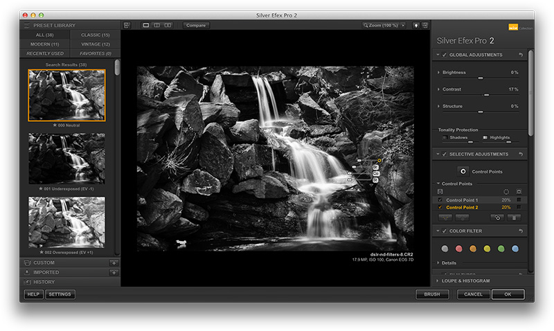 Figure 15. A lackluster color photo of a small waterfall is transformed by Nik Silver Efex Pro 2.